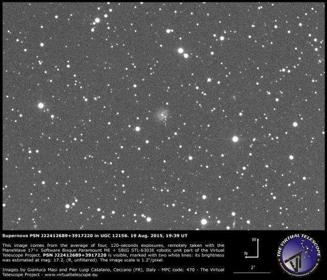 Supernova PSN J22412689+3917220 in UGC 12156: 19 Aug. 2015