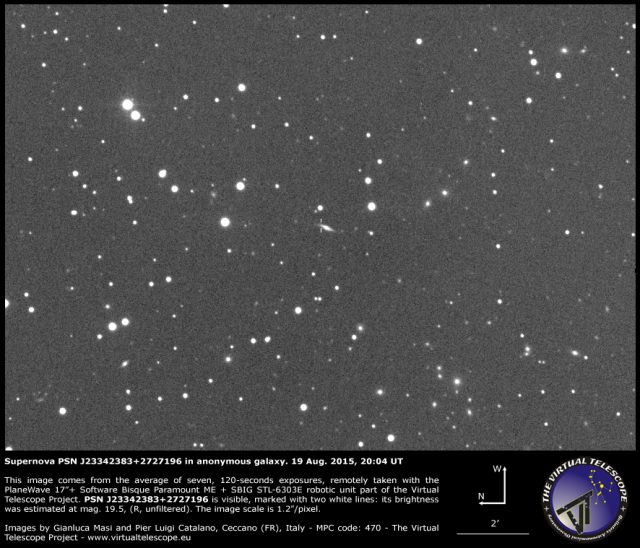 Supernova PSN J23342383+2727196 in anonymous galaxy: 19 Aug. 2015