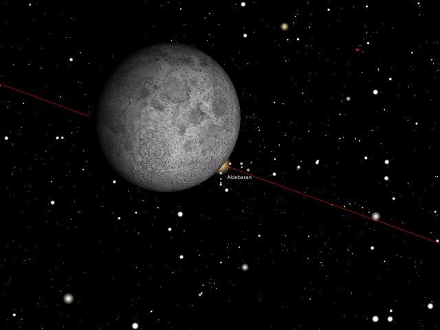Rome, 23 Dec. 2015, 08:04 PM (UT+1): Aldebaran reappear behind the Moon
