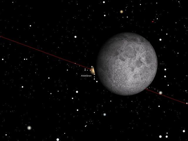 Rome, 23 Dec. 2015, 07:03 PM (UT+1): Aldebaran disappears behind the Moon