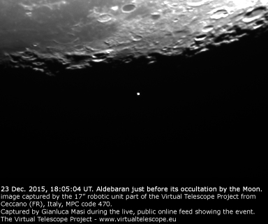 The Moon is occulting Aldebaran: 23 Dec. 2015