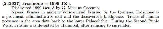 """La citazione ufficiale per l'asteroide """"(243637) Frosinone"""", tratto dalla Circolare MPC 97569"""