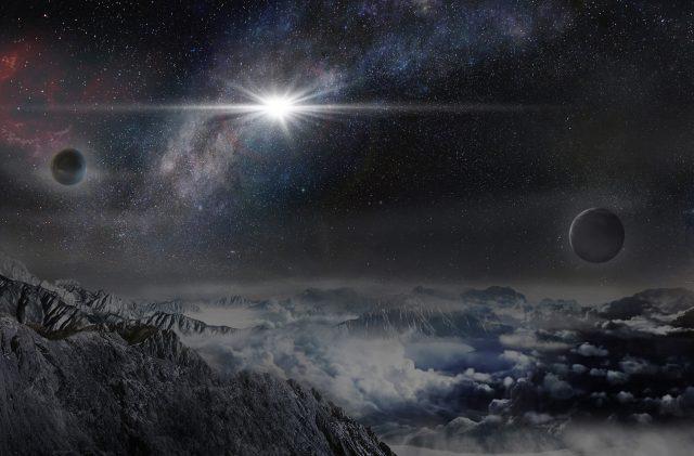 Rappresentazione artistica della supernova da record ASASSN-15lh, così come apparirebbe da un esopianeta distante da essa circa 10.000 anni luce. (Credits: Beijing Planetarium / Jin Ma).