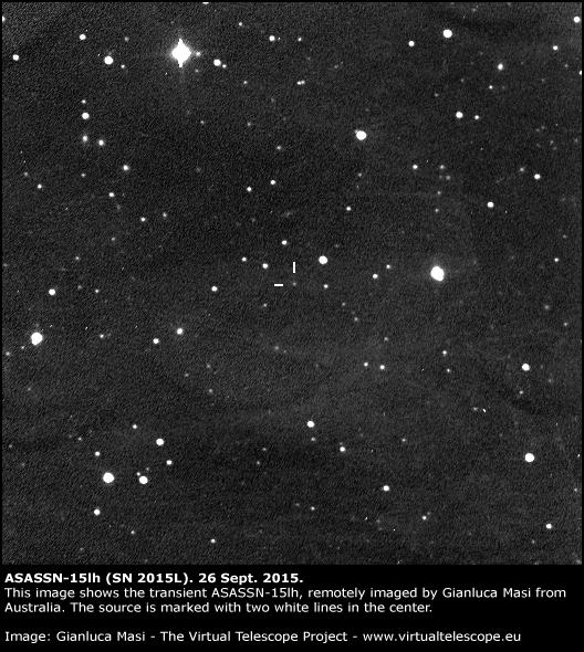 La supernova ASASSN-15lh ripresa il 26 settembre 2015, circa tre mesi dopo la scoperta. (Credits: Gianluca Masi, Virtual Telescope Project).