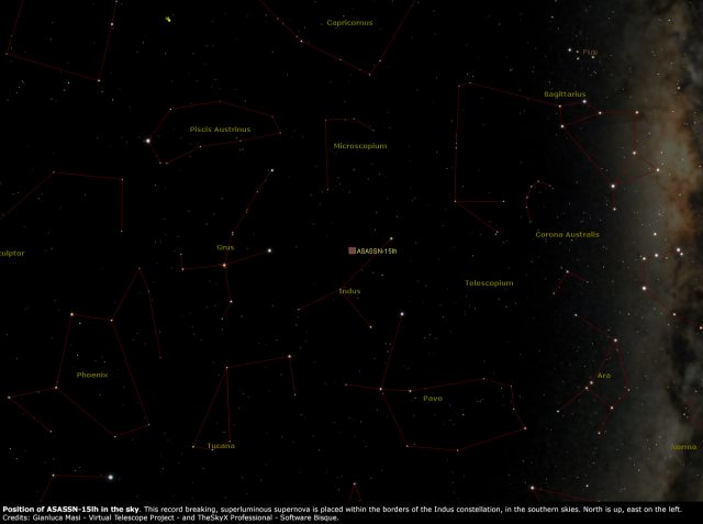 Posizione nel cielo di ASASSN-15lh: essa è apparsa tra le stelle della costellazione dell'Indiano (Indus), nel cielo australe. (Credits: Gianluca Masi - Virtual Telescope Project - and TheSkyX Professional - Software Bisque)