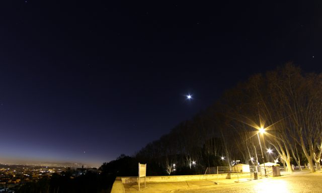 Mercury, Venus, Saturn, Mars and Jupiter, with the Moon, as showing at morning twilight above Rome - 1 Feb. 2016