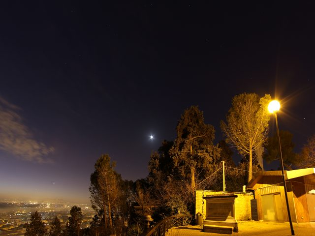 Mercury, Venus, Saturn, Mars and Jupiter, with the Moon from Monte Mario look-out - 2 Feb. 2016.