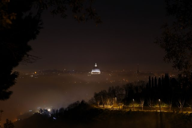 St. Peter dome is showing the fog, all around, is covering Rome - 2 Feb. 2016.