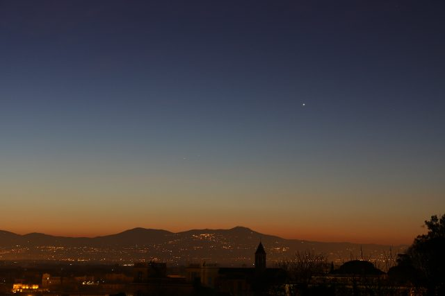 Venus and Mercury are gently brightening among wonderful colors, once the Sun is almost rising, above the Roman Castles - 1 Feb. 2016