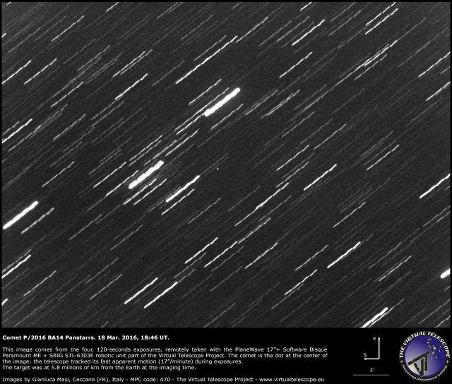 Comet P/2016 BA14 Panstarrs: an image - 18 Mar. 2016
