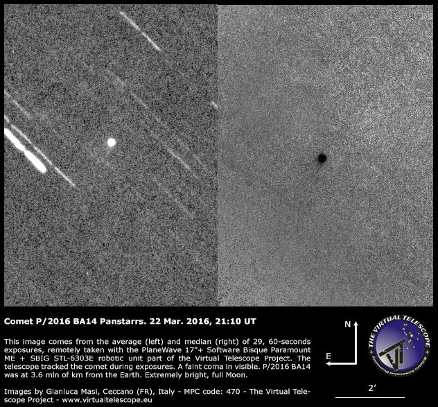 Comet P/2016 BA14 Panstarrs: a faint tail is visible - 22 Mar. 2016