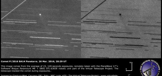 Comet P2016 BA14 Panstarrs with a nice tail - 26 Mar. 2016