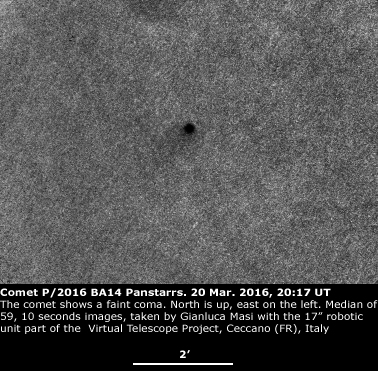 Comet P/2016 BA14 : a faint coma is visible - 20 Mar. 2016