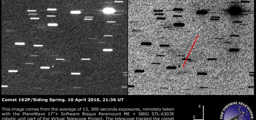 Comet 162P/Siding Spring: an image. A faint tail was possibly detected - 10 April 2016