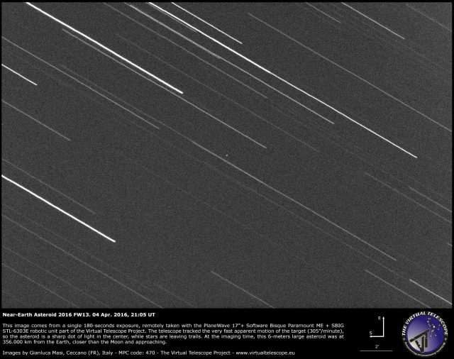 Near-Earth asteroid 2016 FW13: an image (4 April 2016)