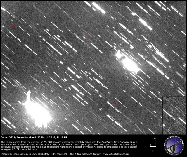 Comet 332P Ikeya-Murakami: fragments a, c, h, g?. 30 Mar. 2016