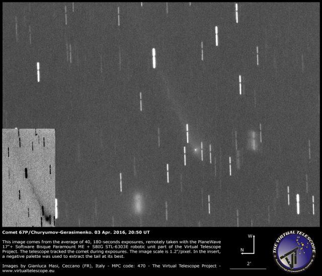 Comet 67P/Churyumov-Gerasimenko: a image (03 Apr. 2016)
