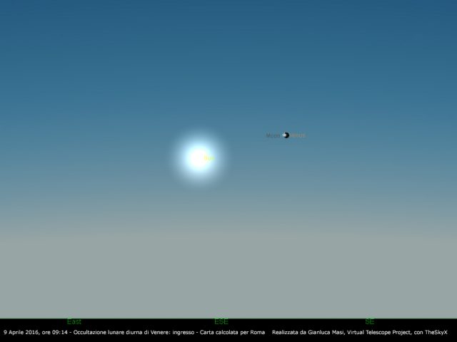 6 April 2016, 07:14 UT: the Moon occults Venus, ingress - simulation from Rome, Italy