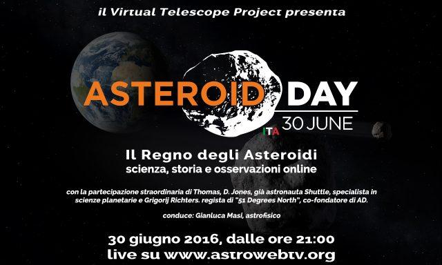 """""""Il Regno degli Asteroidi scienza, storia e osservazioni online"""" – poster"""