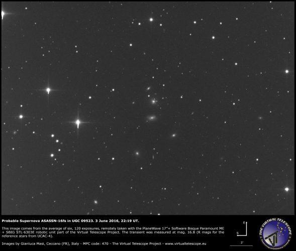 Probable Supernova ASASSN-16fs in UGC 09523: an image (3 June 2016)