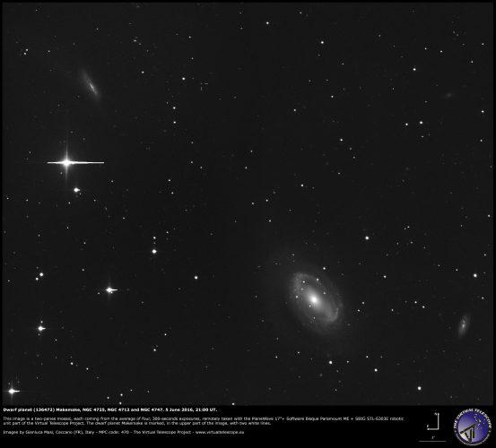 Dwarf planet (136472) Makemake, NGC 4725, NGC 4712 and NGC 4747: 05 June 2016