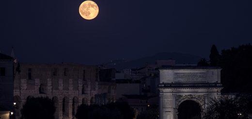 The Arc of Titus (right), the Colosseum and the Full Moon - 20 July 2016