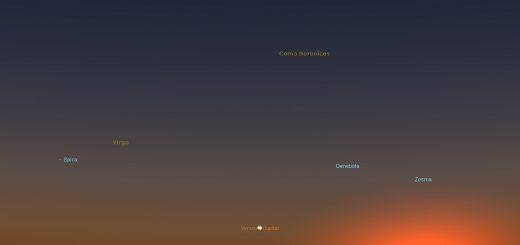 2016 Venus-Jupiter Conjunction. Simulation for Rome, 27 Aug. 2016, 20:15 local time
