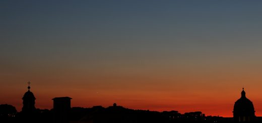 Venus and Jupiter are shining above the western skyline in Rome, at sunset - 27 Aug. 2016