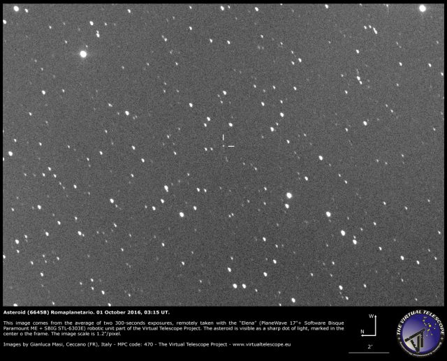 The Asteroid (66458) Romaplanetario, discovered by Gianluca Masi in 1999, as seen on 01 Oct. 2016