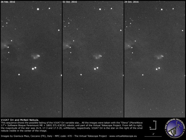 V1647 Ori and the McNeil Nebula on 26 Feb., 01 Oct. and 24 Oct. 2016