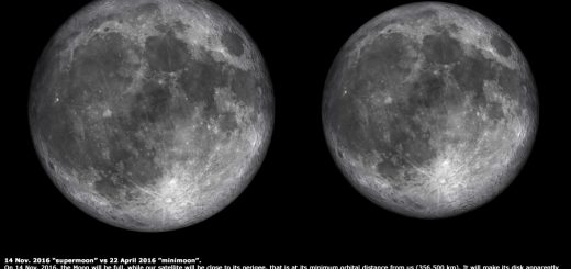 "The 14 Nov. 2016 ""supermoon"" compared to the 22 Apr. 2016 ""mini Moon"": the difference in angular size is apparent."