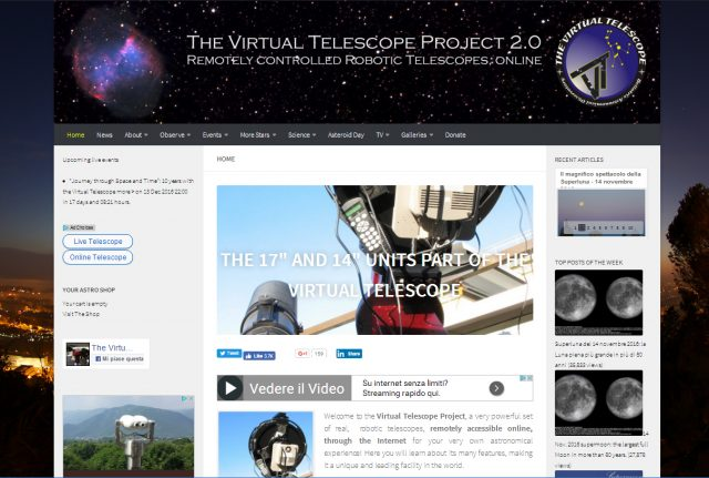 A screenshot of the new website of the Virtual Telescope Project