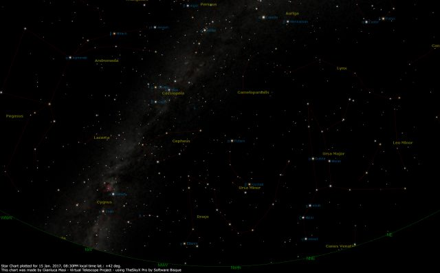 Star Chart: 15 Jan. 2017, 08:30 PM for (13°E,41°N): north