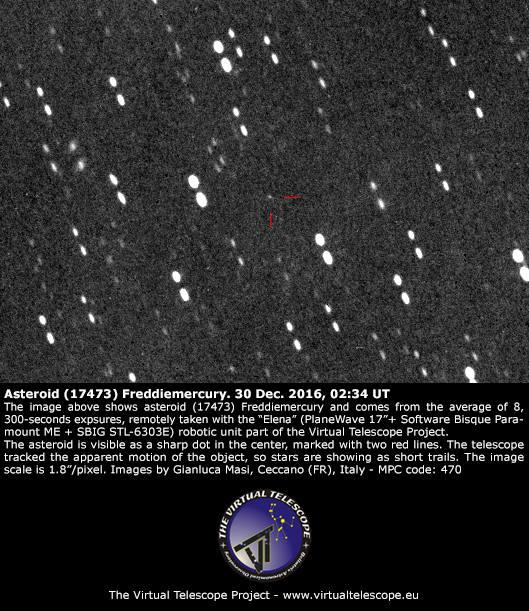 Asteroid (17473) Freddiemercury imaged on 30 Dec. 2016