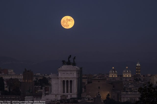"The Moon is dominating the skyline above Rome on 13 Dec. 2016. The ""Nero's Tower"", the ""Altar of the Fatherland"", the domes and the bell tower of Santa Maria Maggiore's Basilica and the Ara Coeli are easy to recognize."