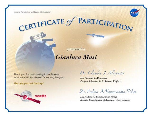 Rosetta: Certificate Of Participation