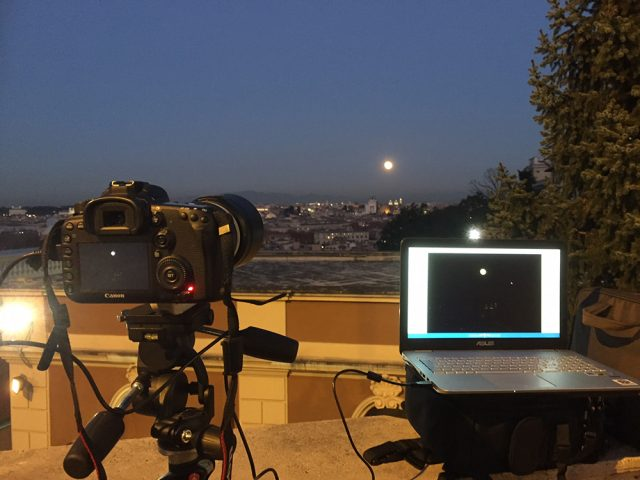 The imaging setup and the observing site, with the Moon on the distance
