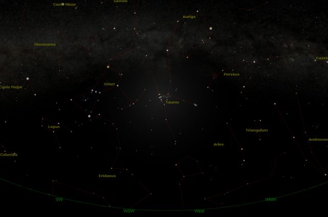 Rome, 05 Feb. 2017, 11:00PM (UT+1): The Moon is setting with Albedaran and Taurus