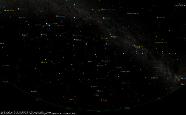 Star Chart: 15 Feb. 2017, 08:30 PM for (13°E,41°N): west