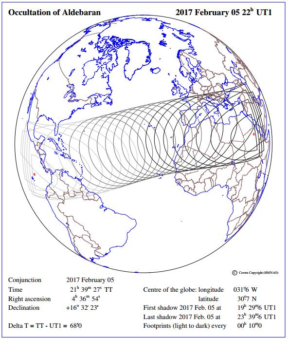 5 FEb. 2017 - Occultation of Aldebaran - Visibility (USNO)