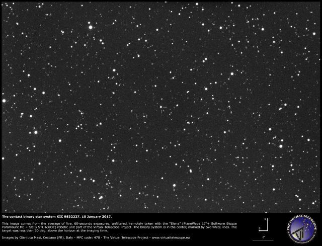 The KIC 9832227 contact binary system in Cygnus - 10 Jan. 2017