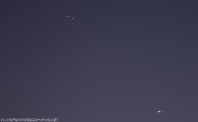 Venus, Mars and Neptune sharing the same spot of the sky. 01 Jan. 2017