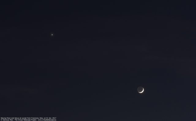 The Moon and Venus shining close in the sky on 01 Jan. 2017