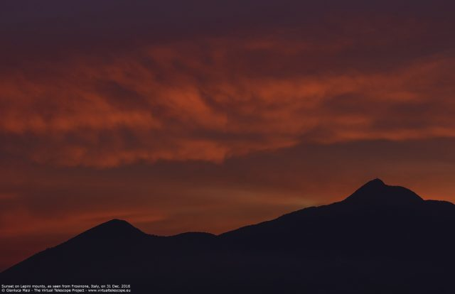 """""""Monte Cacume"""", part of the Lepini Mounts in Central Italy, was dominated by wonderful flaming clouds on 31 Dec. 2016"""