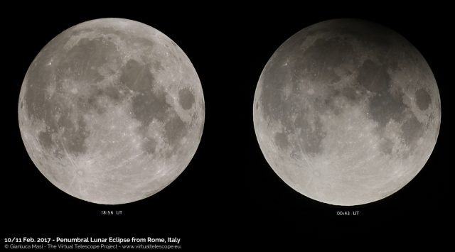 10 Feb. 2017 Penumbral Lunar Eclipse: on the left the Moon before the eclipse, on the right at its maximum