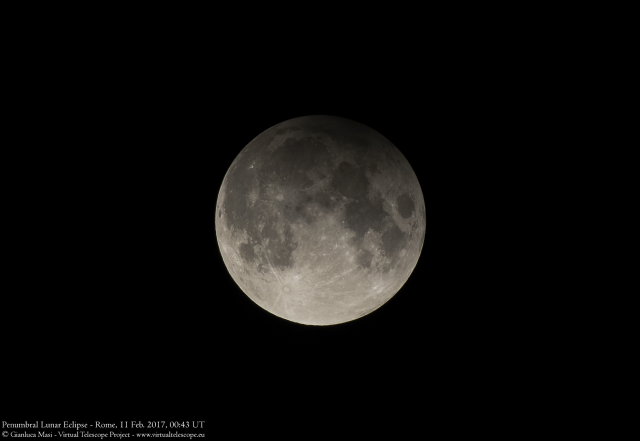 10 Feb. 2017 Penumbral Lunar Eclipse: maximum of the eclipse