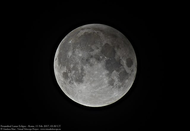 10 Feb. 2017 Penumbral Lunar Eclipse: some hints of the penumbra are still visible on the upper right