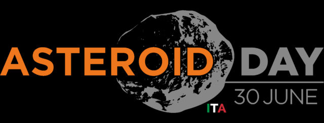 Logo Ufficiale Asteroid Day Italia - sfondo nero