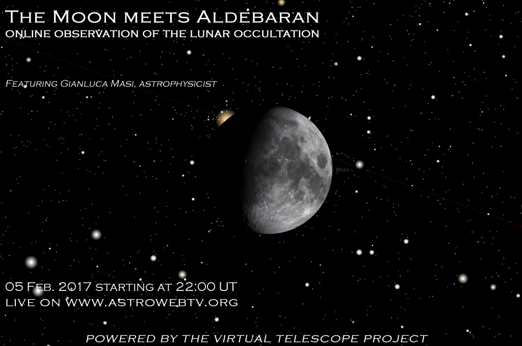 The Moon meets Aldebaran: online observation of the lunar