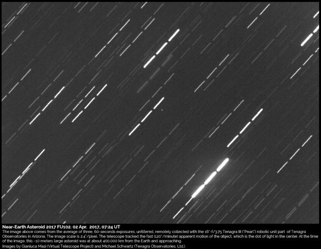 Near-Earth Asteroid 2017 FU102: 2 Apr. 2017
